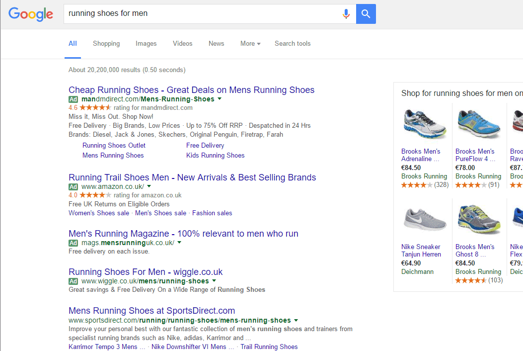 Google SERP with four ads