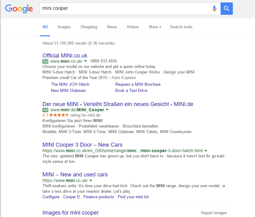 Google SERP less ads, no shopping