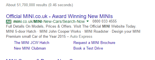 Google SERP small listing