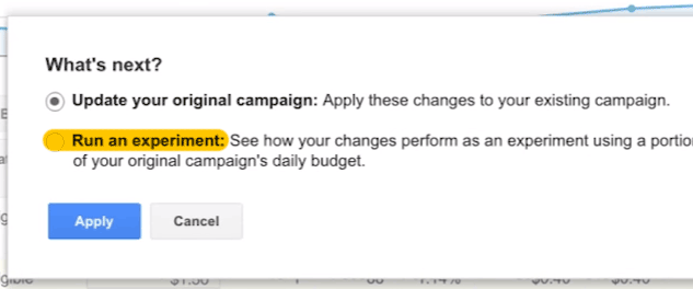 AdWords set up test campaign