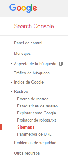 Google Search Console Menu