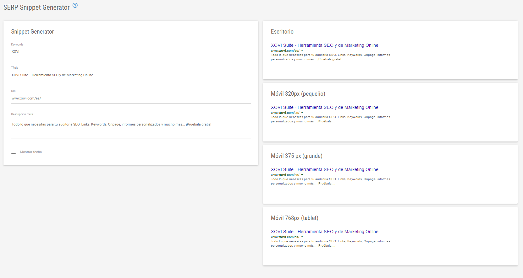 Website relaunch Serp Snippet Generator
