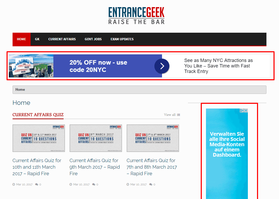 Entrance Geek Homepage