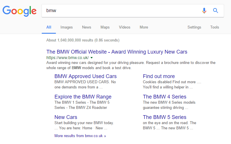 Google.co.uk SERP: bmw
