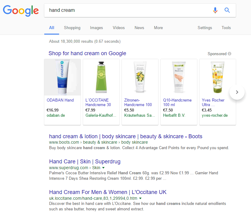 Google.co.uk SERP: hand cream