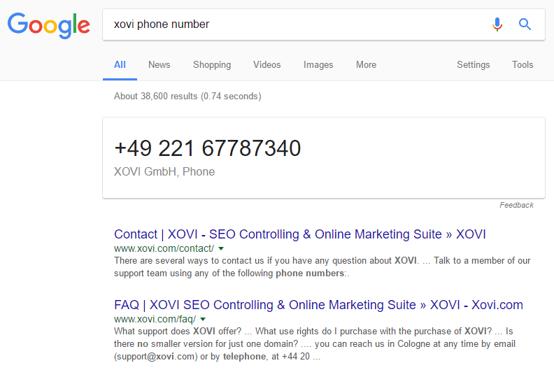 Google.co.uk SERP: xovi phone number