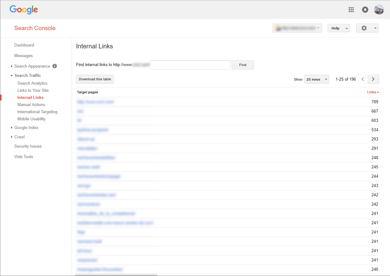 Search console internal links
