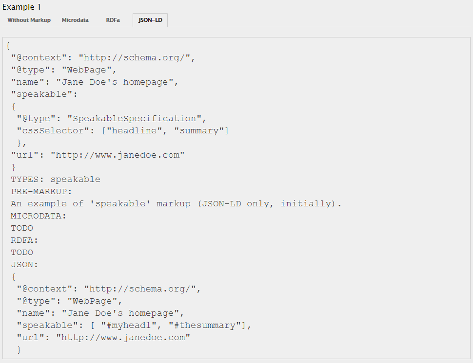 This is how speakable structured data looks like in JSON-LD