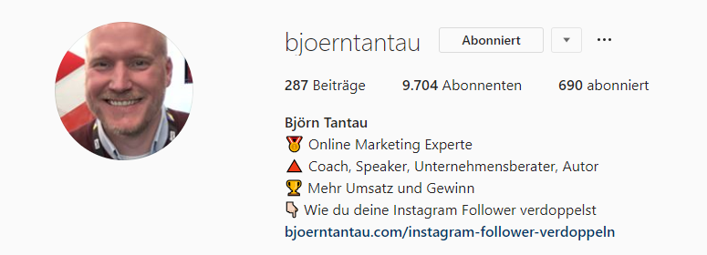 Tantau_Instagram-Marketing-Tantau-Bio